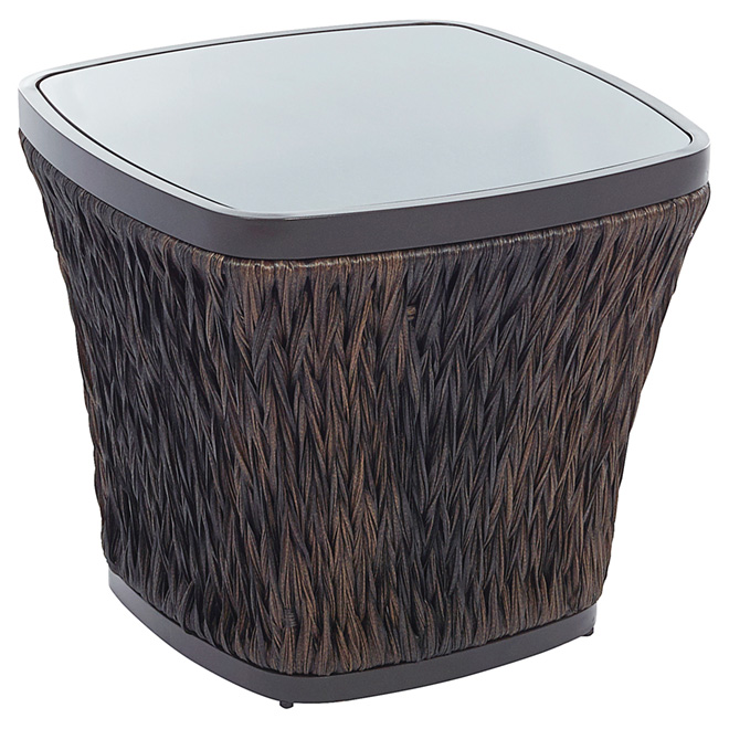 Allen + Roth Ellisview Woven Wicker Square Patio Side Table - 22-in - Brown