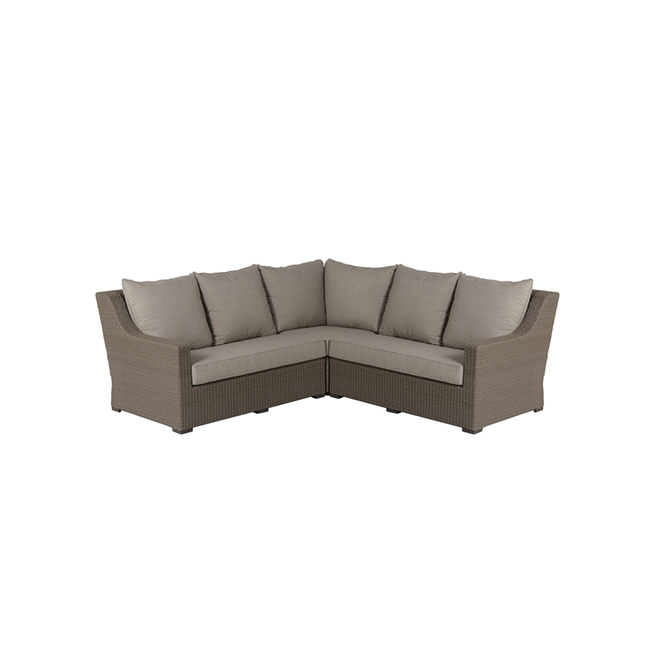 Allen + Roth Hawkesbury Patio Sectional - Taupe and Brown - Aluminum and Wicker - 5 Seats