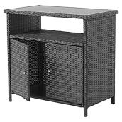 allen + roth Savona Patio Sideboard Table - 35.8-in - Wicker/Glass - Grey