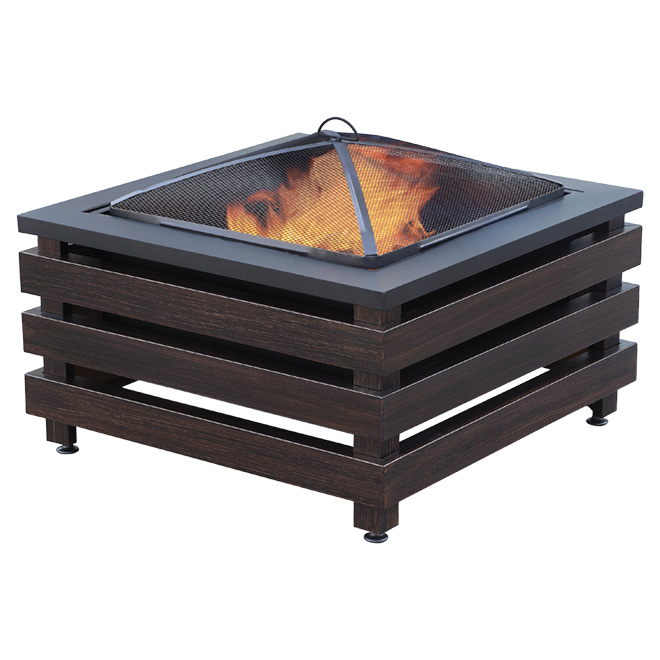 Wood Fireplace - Square - 29'' x 22'' - Brown/Black