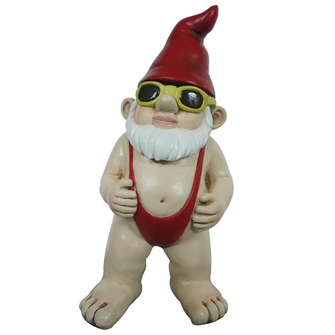 """Statue de gnome en mankini, résine, 14"""""""