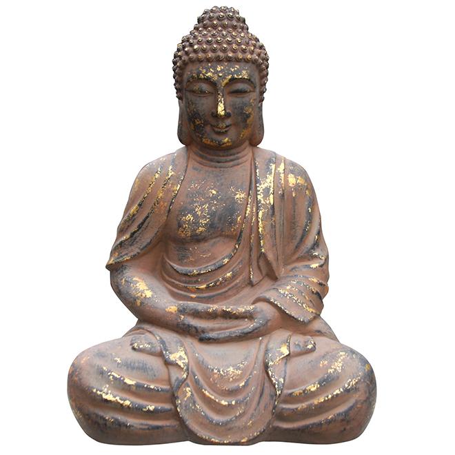 """Statue de Bouddha, 28"""", béton, doré"""
