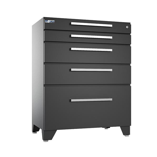Cabinet de base Proslat Elite en acier, 5 tiroirs, gris