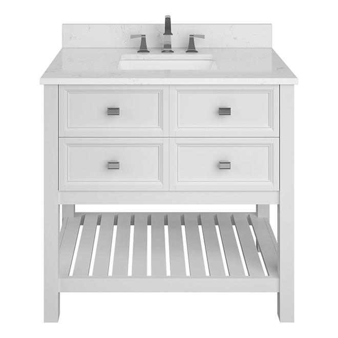 Scott Living Allen Roth Canterbury Collection Vanity 1 Sink 2 Drawers 36 In White Engineered Stone 1227va 36 201 Rona