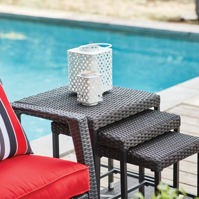 Allen + Roth - Square Nesting Patio Side Table Set - Steel/Wicker - Brown - 3 Pieces