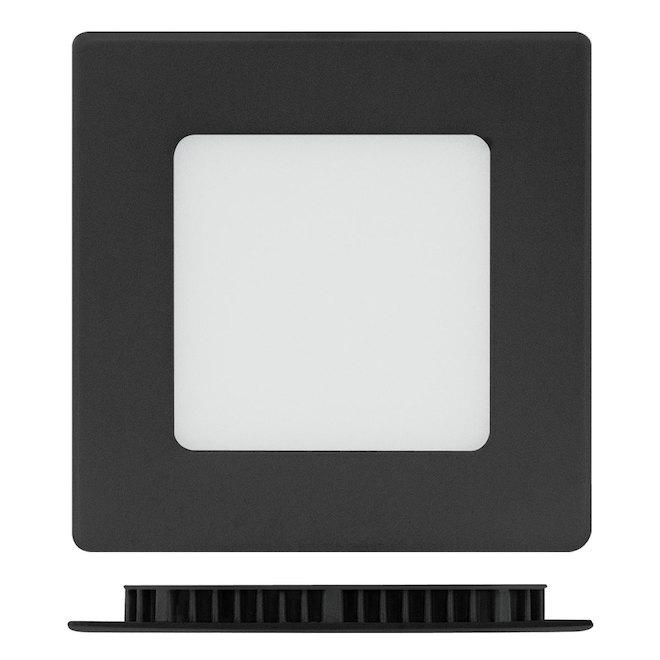 """4"""" Square Recessed Light - 9W LED - 3000K - Black"""