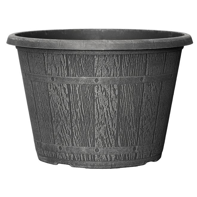 Cask Planter - Plastic 16-in Grey