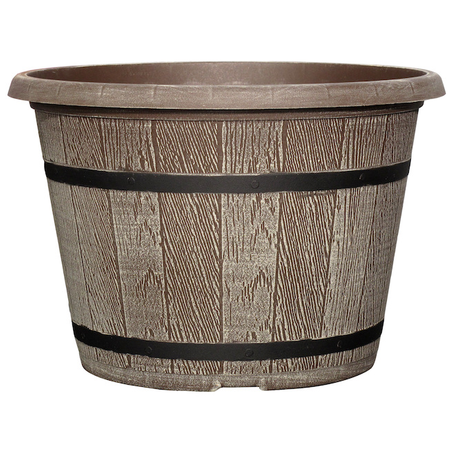 Cask Planter - Plastic 16 po Driftwood