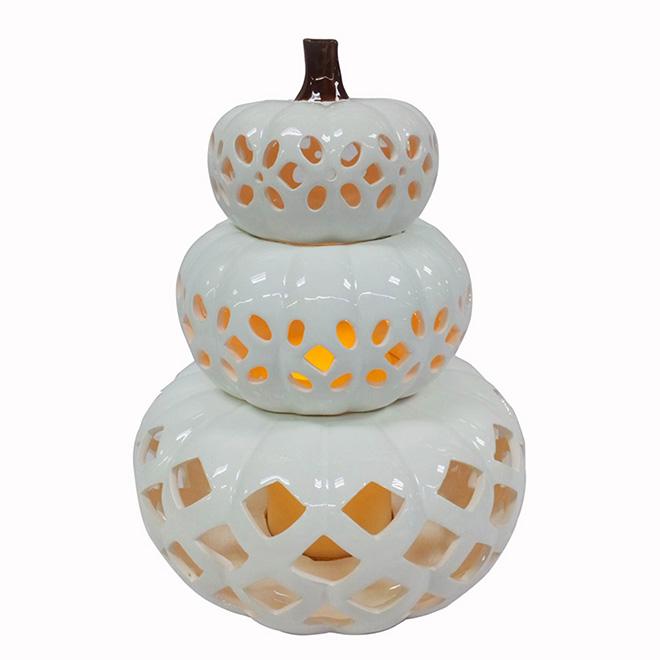 Ceramic Pumpkin Centrepiece - White