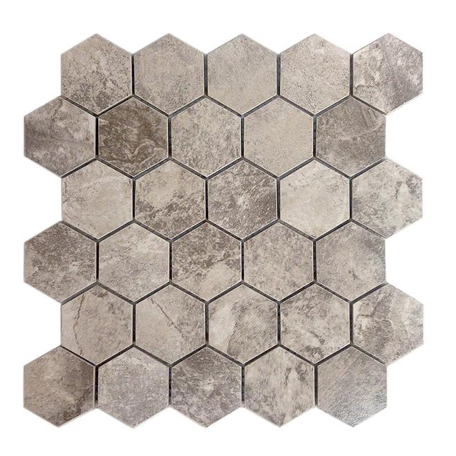 "Mosaic Hexagon Ceramic Tile - 12"" x 12"" -10/Box - Storm Grey"