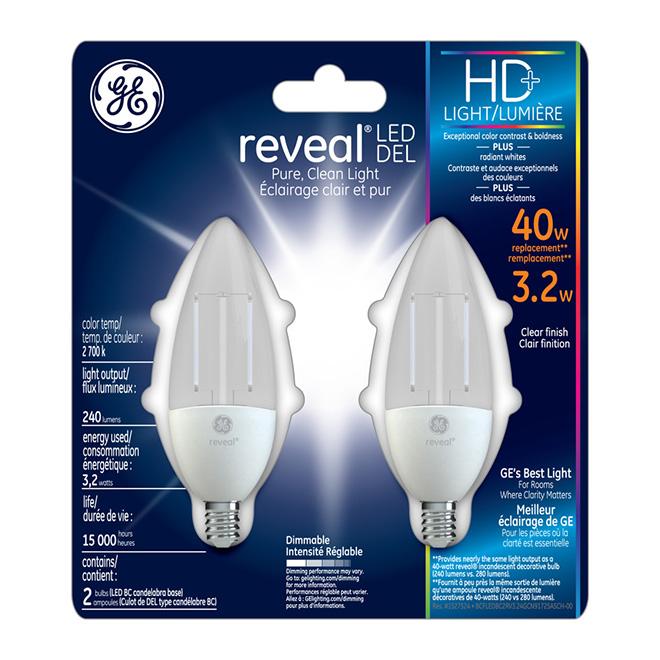 LED Candelabra Bulb - E-12 BType - Dimmable - PK2