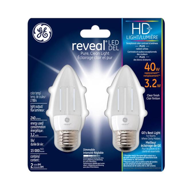 LED Candelabra Bulb - E-26 BType - Dimmable - PK2