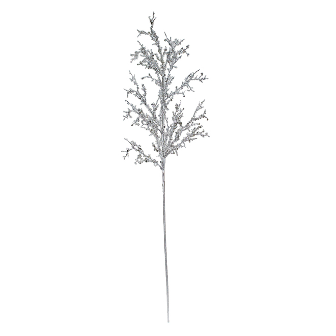 Decorative Branch with Sparkling Leaves - Silver