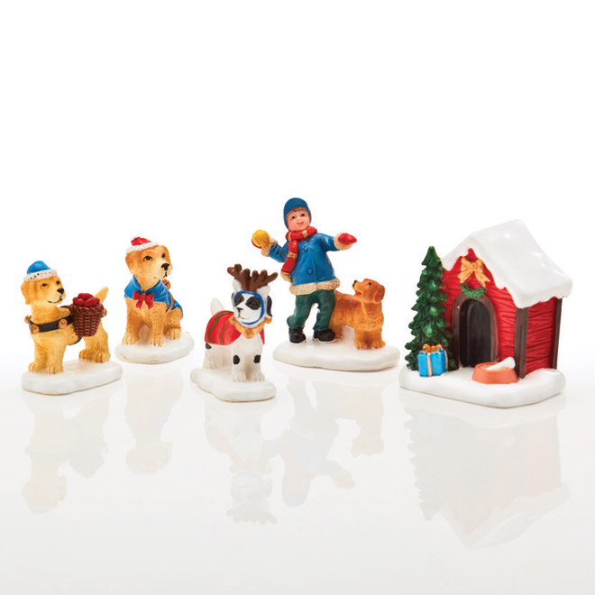 Figurines de village de Noël, chiens, multicolore, 5 pqt