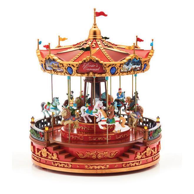 Carrousel électrique Rosie's, 12 po x 12 po x 14 po, polyrésine, multicolore