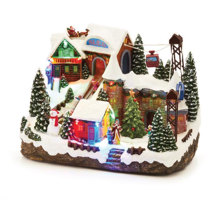 Christmas Village Ski Lift.Musical Christmas Decoration Sled Ski Lift Led C51733