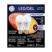Ampoule DEL A19 6 W, non variable, blanc doux, 2/pqt