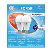 Ampoule DEL A19, 6 W, lumière du jour, 2/pqt