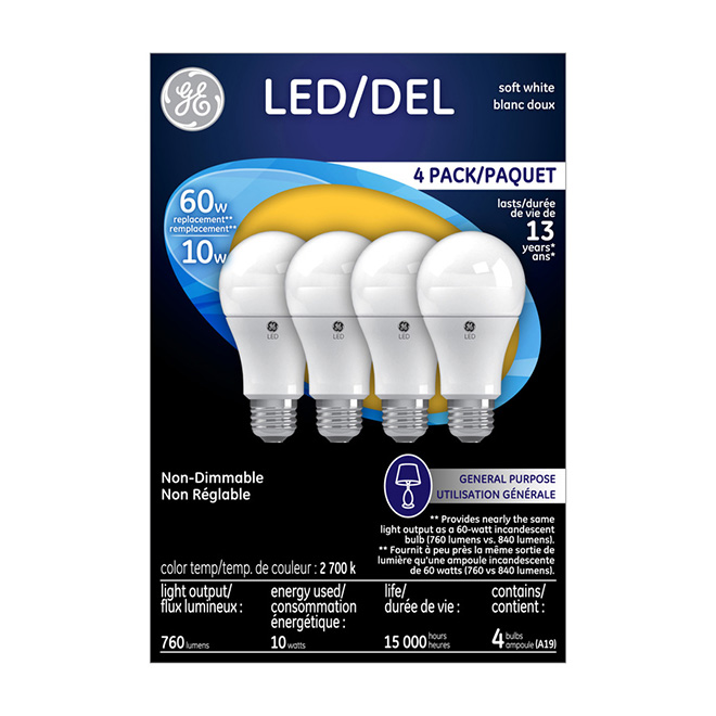 Bulb A19 E26 - No Dimmable - Soft White - 4/Pk