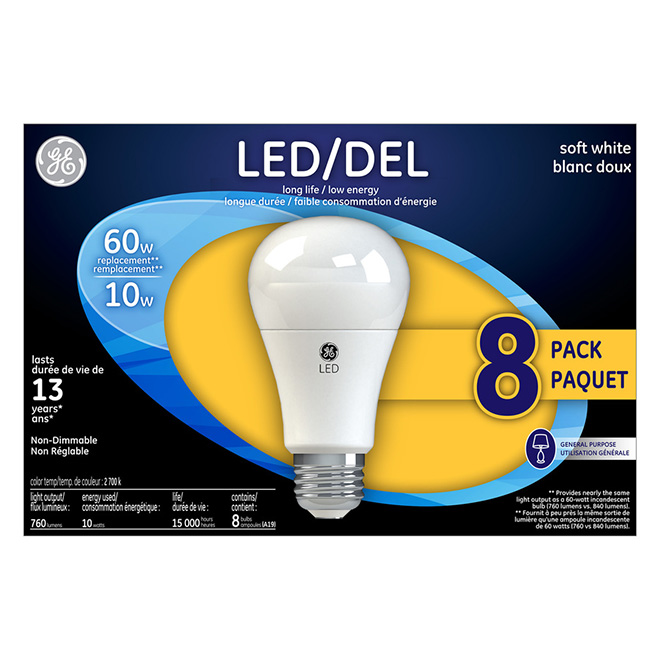 Pack of 8 LED A19 Bulbs - 10 W - Soft White