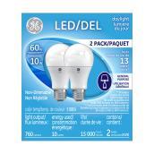 Ampoule A19 E-26, 10 W, lumière du jour, 2/pqt