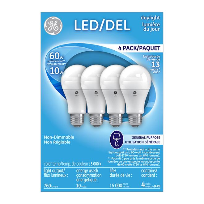 Ampoule A19 E26, non-variable, lumière du jour, pqt/4