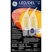 Ampoule chandelle DEL, intensité var, 4 W, blanc doux, 2/pqt