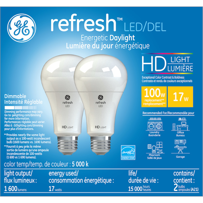 Bulb HD A21 E26 - Dimmable - Daylight - 2/Pk