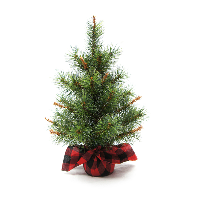 "Table Centrepiece Fir Tree - 16"" x 12"" - Green and Red"