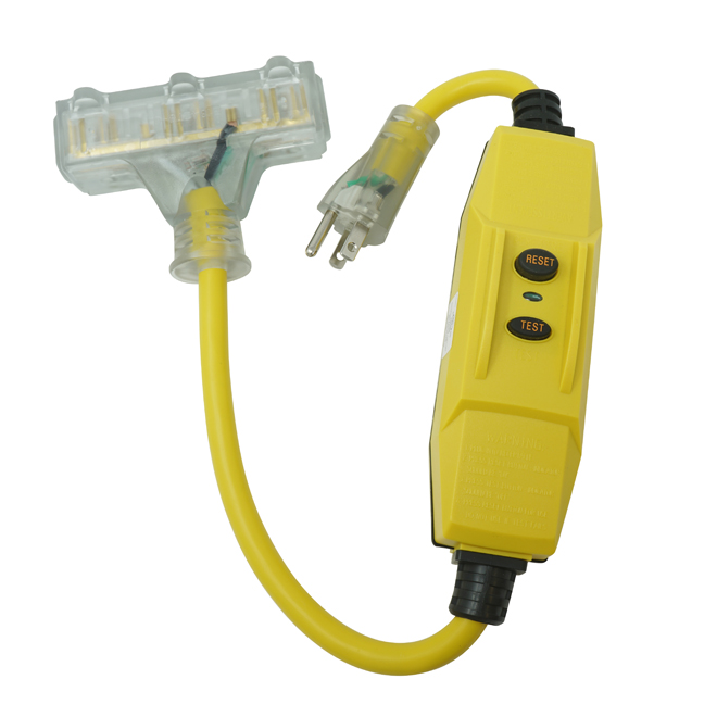 Triple Outlet Cable Extension - GFCI - 2' - 15 A - Yellow
