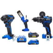 Kobalt XTR 3-Tool Combo Kit with Batteries and Charger - Brushless Motor - LED Work Light - Hard Storage Case