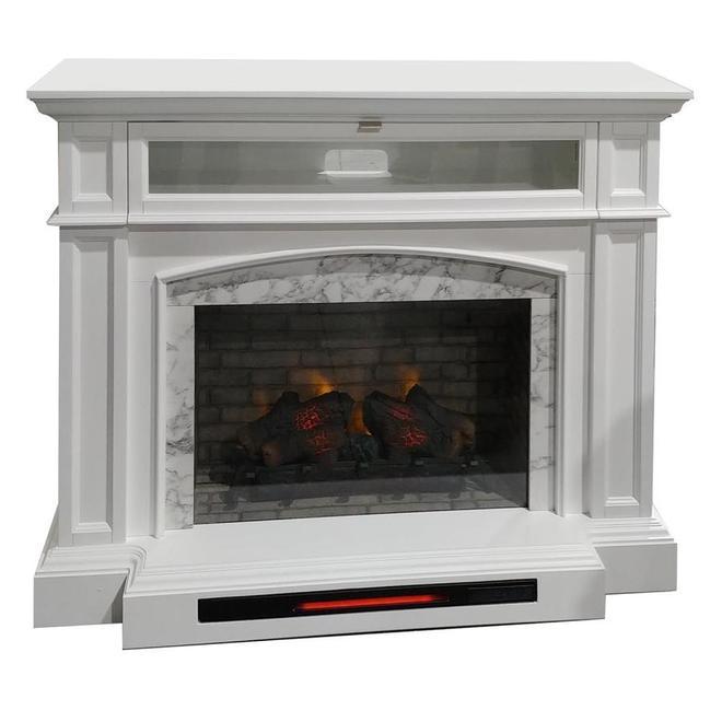Foyer électrique ALLEN + ROTH quartz infrarouge, 52,5 po, blanc