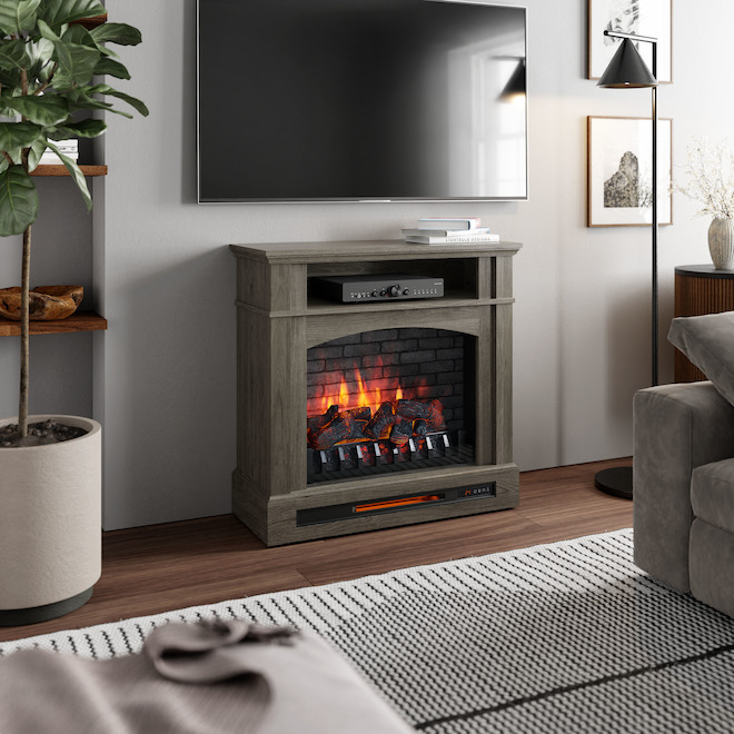 Style Selections Infrared Electric Fireplace with Shelf - 33-in x 33.75-in - 1500 W - Ash Grey
