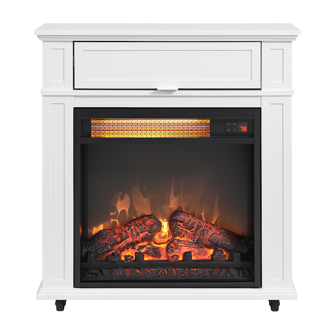 Style Selections Rolling Electric Fireplace - Infrared - 25.6-in - White Oak