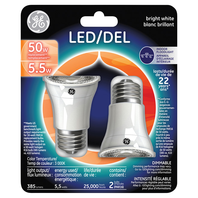 GE LED Light Bulb - Dimmable - 5.5 W - Pack of 2