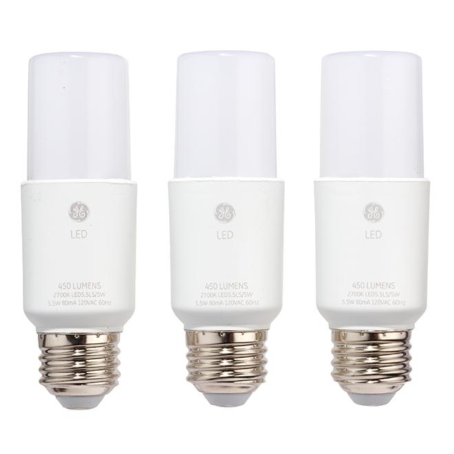 Ge Bright Stik Led Bulb 6w Soft White 3 Pack 65186 Rona