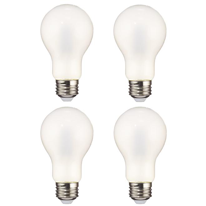 Ampoules DEL A19 8,0 W en verre, 5000 K, paquet de 4