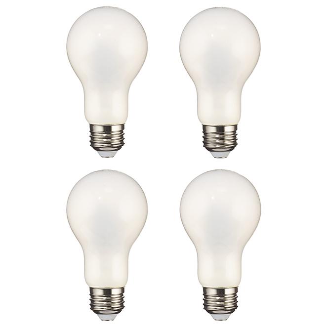 8.0 W LED A19 Glass Bulbs - 2700 K - 4-Pack