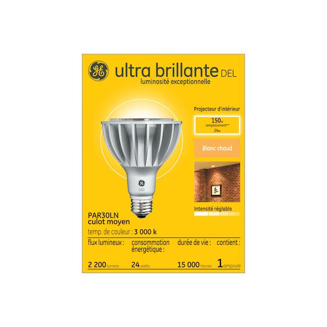 Ampoule DEL GE, PAR30LN, 24 W, blanc chaud, 2/pqt