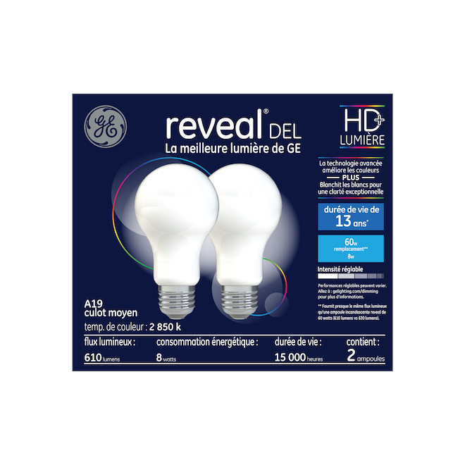 Reveal(R) Dimmable LED Bulb - A19 HD - 8.0 W - White - 2/Pack