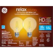 GE LED Bulb - G25 HD - 5.5 W - Soft White - 2/Pack