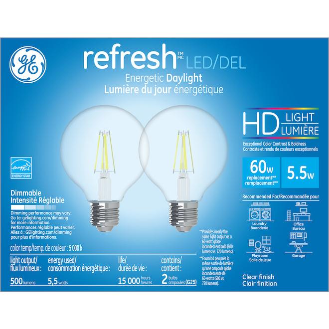 Ampoule DEL GE, G25 HD, 5,5 W, lumière du jour, 2/pqt