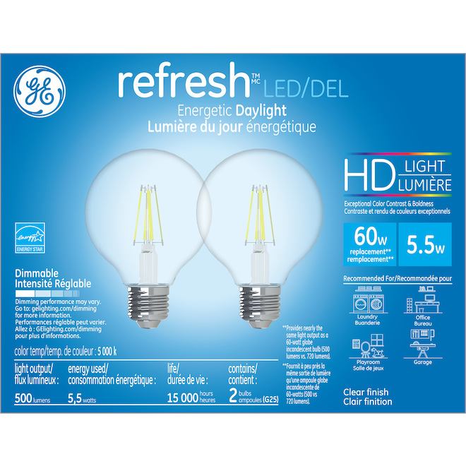 GE LED Bulb - G25 HD - 5.5 W - Day Light - 2/Pack