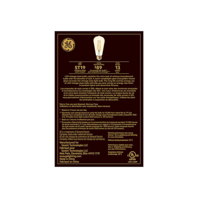 Ampoules DEL de style ancien ST19 de GE à culot moyen et verre ambré, 6 W équivalent à 60 W, lueur chaude, paquet de 2