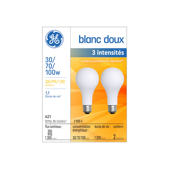 Incandescent 3-Intensity Bulb - Glass - Frosted - 2 Pack