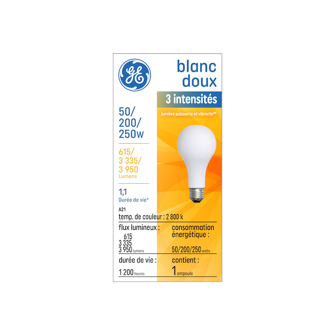 Incandescent 3-Intensity Bulb - A21 - Frosted - 50/200/250 W