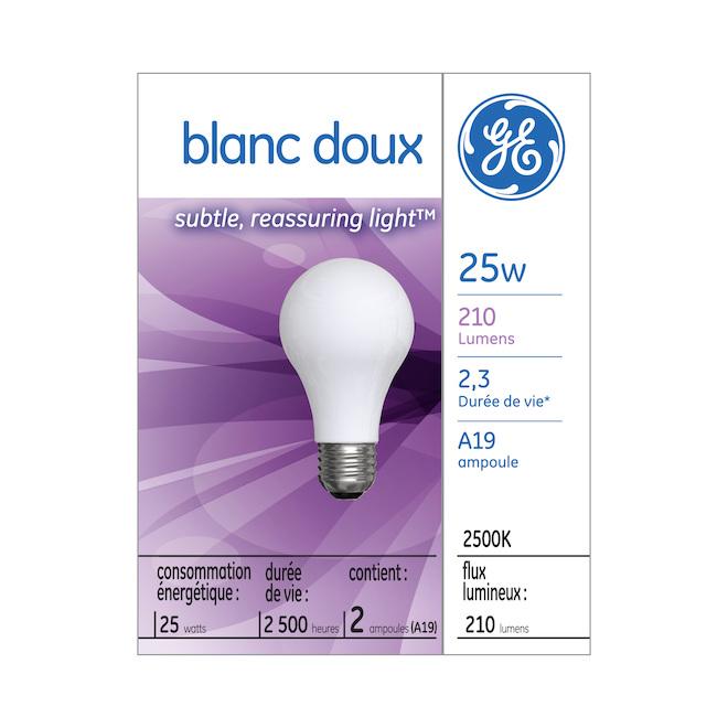 Ampoule incandescente GE, A19, 25 W, blanc doux, 2/pqt