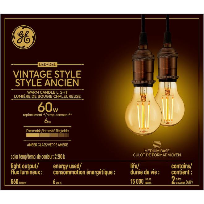 Ampoules DEL vintage GE, 6 W, lueur de chandelle, paquet de 2