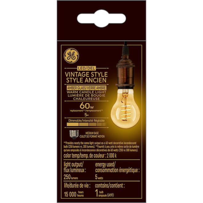 Ampoules DEL vintage GE, 5 W, lueur de chandelle, paquet de 2