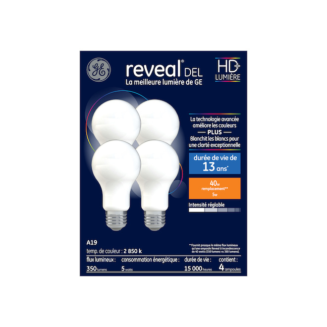 Dimmable LED Bulb - A19 - 5 W - Glass - 4-Pack